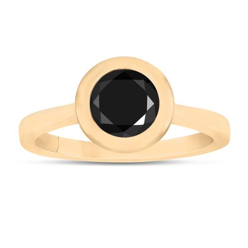 1.00 Carat Black Diamond Solitaire Engagement Ring 14K Yellow Gold Handmade Bezel Set