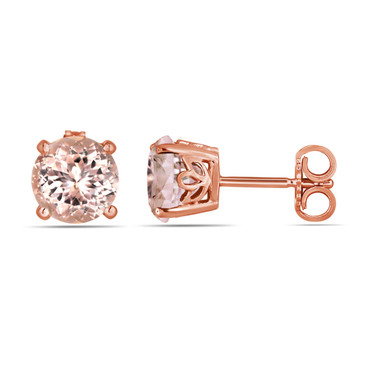 Pink Peach Morganite Stud Earrings Handmade Gallery Design 14K Black Gold Vintage Style 1.74 Carat