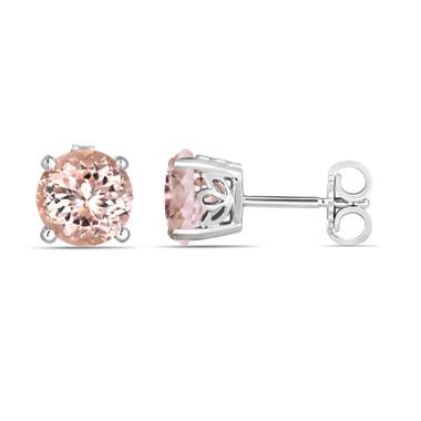 Pink Peach Morganite Stud Earrings Handmade Gallery Design 14K White Gold 1.74 Carat