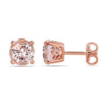 Pink Peach Morganite Stud Earrings Handmade Gallery Design 14K Rose Gold 1.74 Carat