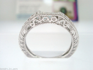 14K White Gold Wedding & Anniversary Diamond Curve Band 0.12 Carat handmade Vintage Style