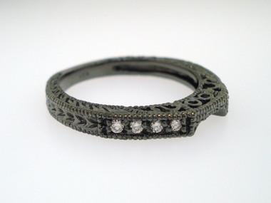 Vintage Style 14K Black Gold Wedding & Anniversary Diamond Curve Band 0.12 Carat handmade