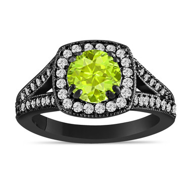 Green Peridot And Diamonds Engagement Ring 14K Black Gold Vintage Style 1.56 Carat Halo Pave Handmade Certified