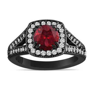 Red Garnet And Diamonds Engagement Ring 14K Black Gold Vintage Style 1.81 Carat Halo Pave Handmade Certified