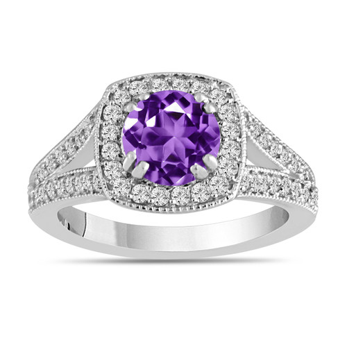 Amethyst And Diamonds Engagement Ring 14K White Gold 1.56 Carat Halo Pave Handmade Certified