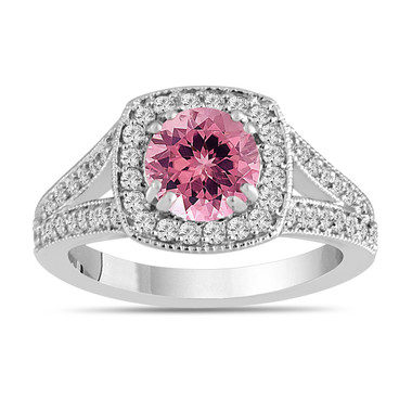 Pink Tourmaline And Diamonds Engagement Ring 14K White Gold 1.56 Carat Halo Pave Handmade Certified