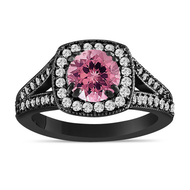 Pink Tourmaline And Diamonds Engagement Ring 14K Black Gold Vintage Style 1.56 Carat Halo Pave Handmade Certified