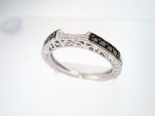 14K White Gold Wedding And Anniversary Black Diamond Curve Band 0.12 Carat