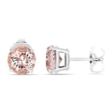 Pink Peach Morganite Stud Earrings 14K White Gold 2.10 Carat Handmade Birthstone