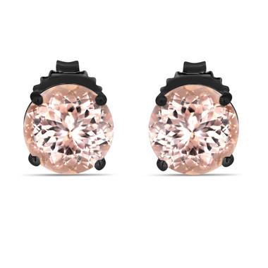 Peach Pink Morganite Stud Earrings 14K Black Gold Vintage Style 3.50 Carat Handmade Birthstone