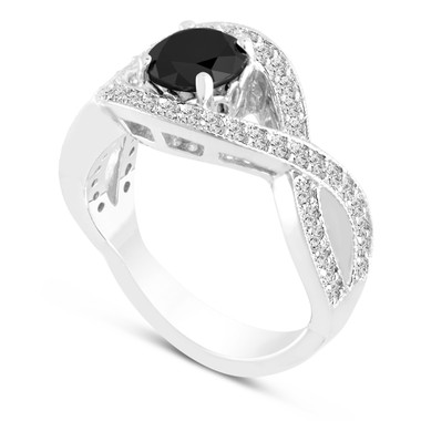 Platinum Black Diamond Engagement Ring 1.52 Carat Unique Halo Pave Handmade Certified