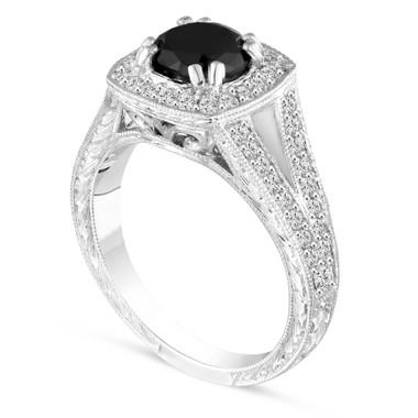 Platinum Fancy Black Diamond Engagement Ring Vintage Style Hand Engraved 1.60 Carat Bridal Pave Halo Handmade Unique