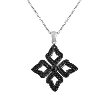Black Diamond Leaf Pendant Necklace 14K White Gold 0.60 Carat Pave Set HandMade