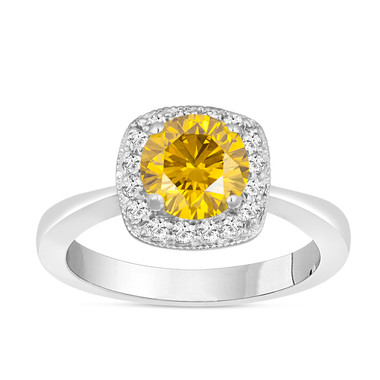 Fancy Yellow Diamond Engagement Ring 1.23 Carat 14K White Gold Handmade Halo Pave