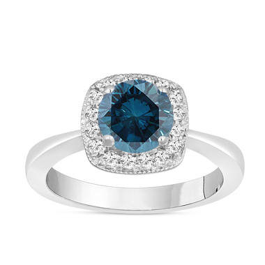 Fancy Blue Diamond Engagement Ring 14K White Gold 1.28 Carat Halo Pave Handmade