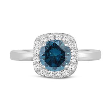 Fancy Blue Diamond Cocktail Ring 14K White Gold 1.35 Carat Halo Pave Handmade