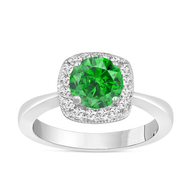Fancy Green & White Diamond Halo Engagement Ring 14K White Gold 1.24 Carat Handmade Bridal