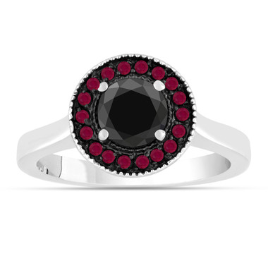 Black Diamond & Ruby Engagement Ring 14K White Gold 0.95 Carat Certified Pave Halo Bridal Unique Handmade