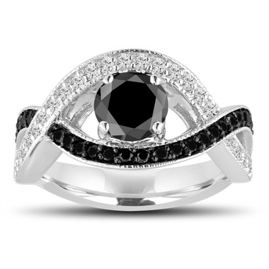 Fancy Black and White Diamonds Engagement Ring 1.52 Carat 14k White Gold Unique Halo Pave Handmade Certified