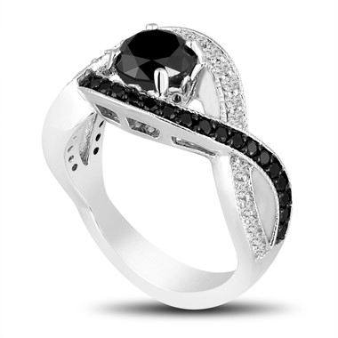 Black Diamonds Cocktail Ring 1.52 Carat 14k White Gold Unique Halo Pave Handmade Certified