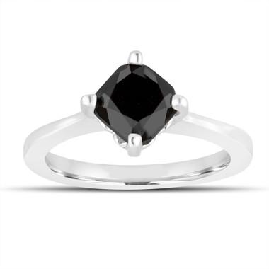 Cushion Cut Black Diamond Solitaire Engagement Ring 1.70 Carat 14K White Gold Unique Gallery Design handmade