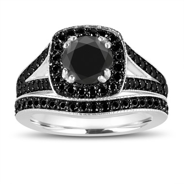 Fancy Black Diamonds Engagement Ring and Wedding Band Sets 1.82 Carat 14K White Gold Unique Handmade Halo Pave Bridal