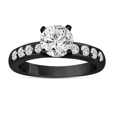 Diamond Engagement Ring 1.34 Carat 14K Black Gold Vintage Style Unique Handmade Pave Bridal