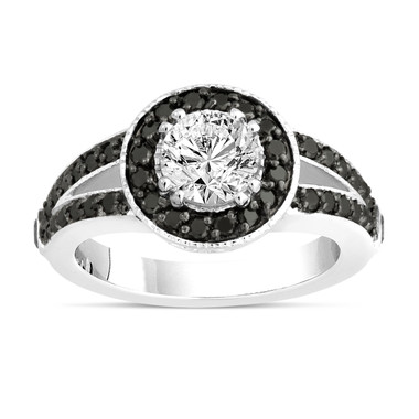 White and Fancy Black Diamonds Engagement Ring 1.56 Carat 14K White Gold Handmade Unique Halo Pave Certified