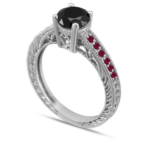 Black Diamond and Ruby Engagement Ring 14K White Gold 0.64 Carat Antique Vintage Style Pave Handmade