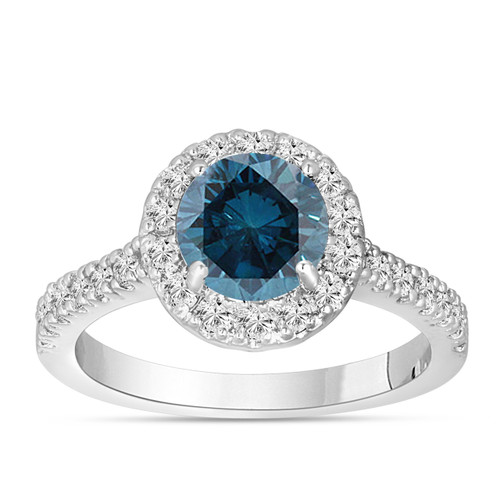 Fancy Blue Diamond Engagement Ring 14K White Gold 1.60 Carat Halo Certified Handmade