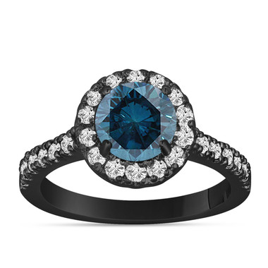 Fancy Blue Diamond Engagement Ring 14K Black Gold Vintage Style 1.60 Carat Halo Certified Handmade