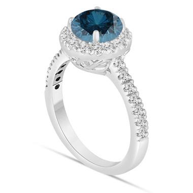 Blue Diamond Engagement Ring 14K White Gold 1.70 Carat Halo Certified Handmade