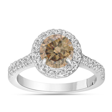Fancy Champagne Brown Diamond Engagement Ring 14K White Gold 1.60 Carat Halo Certified Handmade