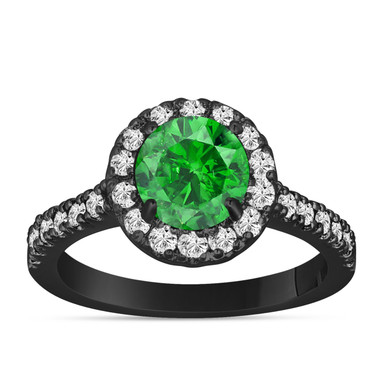 Fancy Green Diamond Engagement Ring 14K Black Gold Vintage Style 1.60 Carat Halo Certified Handmade