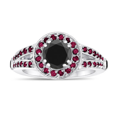 Fancy Black Diamond and Ruby's Engagement Ring 1.62 Carat 14k White Gold Unique Pave Halo Handmade Certified