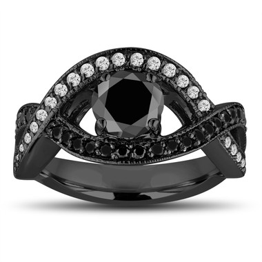 Fancy Black and White Diamonds Engagement Ring 1.52 Carat 14k Black Gold Vintage Style Unique Halo Pave Handmade Certified