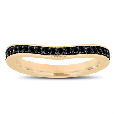 Fancy Black Diamonds Curve Matching Wedding Band 14K Yellow Gold 0.23 Carat Pave