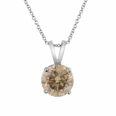 Fancy Champagne Brown Diamond Solitaire Pendant Necklace 0.75 Carat 14k White Gold Certified Handmade