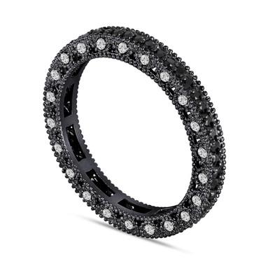 Fancy Black and White Diamonds Eternity Wedding Band 14K Black Gold Vintage Style 0.75 Carat Unique