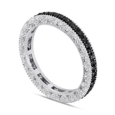 Fancy Black and White Diamonds Eternity Wedding Band 14K White Gold Vintage Style 0.75 Carat Unique