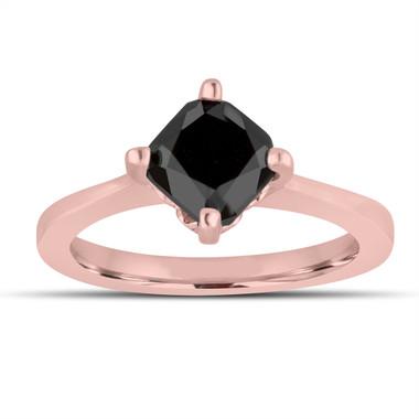 Cushion Cut Fancy Black Diamond Solitaire Engagement Ring 14K Rose Gold 1.70 Carat Unique Gallery Design handmade