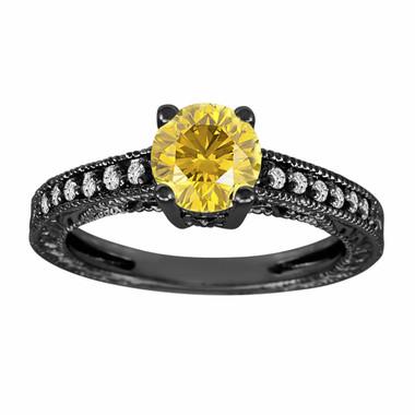 Fancy Yellow Diamond Engagement Ring Vintage Style 14K Black Gold 1.12 Carat Pave Set Antique Style Engraved Handmade