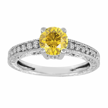 Fancy Yellow Diamond Engagement Ring 14K White Gold 1.12 Carat Pave Set Antique Style Engraved Handmade