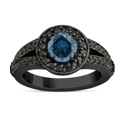 Fancy Blue Diamond Engagement Ring 14k Black Gold Vintage Style 1.56 Carat Unique Pave Halo Handmade Certified
