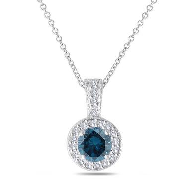 Blue Diamond Pendant Necklace 14K White Gold 1.23 Carat Halo Pave Handmade
