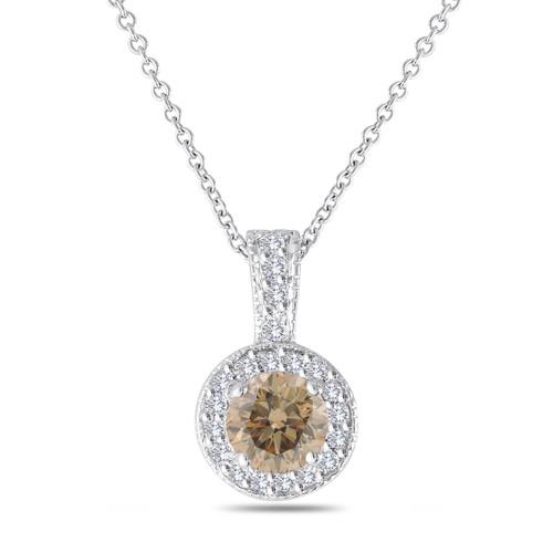 Champagne Diamond Pendant Necklace, Brown Diamond Pendant, Halo Pendant Necklace, 14K White Gold 1.23 Carat Pave Handmade