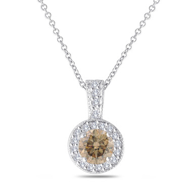 Champagne Diamond Pendant Necklace, Brown Diamond Pendant, Halo Pendant Necklace, 14K White Gold 1.23 Carat Pave Handmade