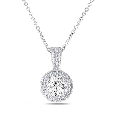 Diamond Pendant Necklace 14K White Gold 1.23 Carat Halo Pave Handmade
