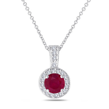 Platinum Red Ruby And Diamonds Pendant Necklace 1.23 Carat Halo Pave Handmade