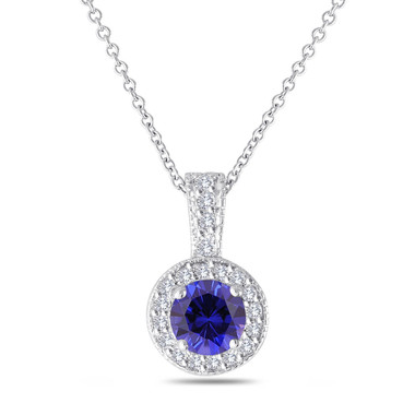 Blue Sapphire And Diamonds Pendant Necklace 14K White Gold 1.23 Carat Halo Pave Handmade